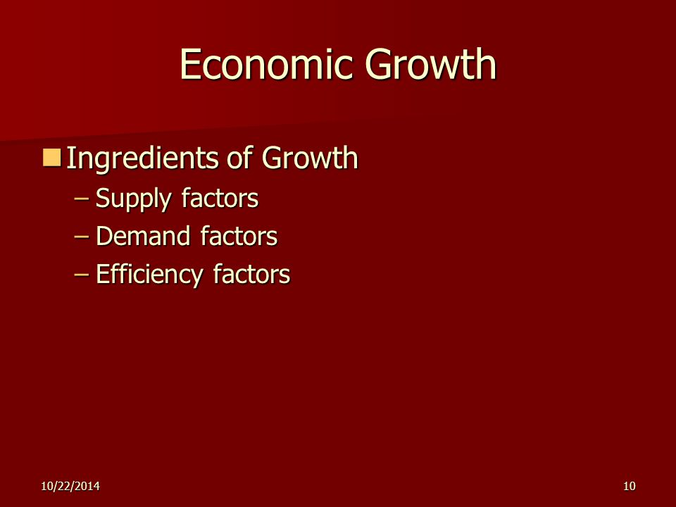 10/22/201410 Economic Growth Ingredients of Growth Ingredients of Growth –Supply factors –Demand factors –Efficiency factors