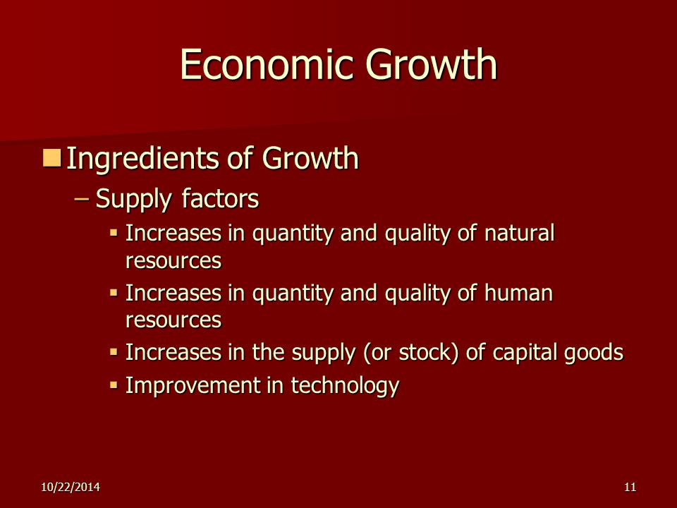 10/22/201411 Economic Growth Ingredients of Growth Ingredients of Growth –Supply factors  Increases in quantity and quality of natural resources  In