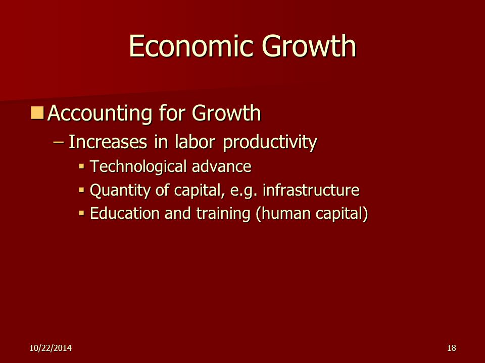 10/22/201418 Economic Growth Accounting for Growth Accounting for Growth –Increases in labor productivity  Technological advance  Quantity of capital, e.g.