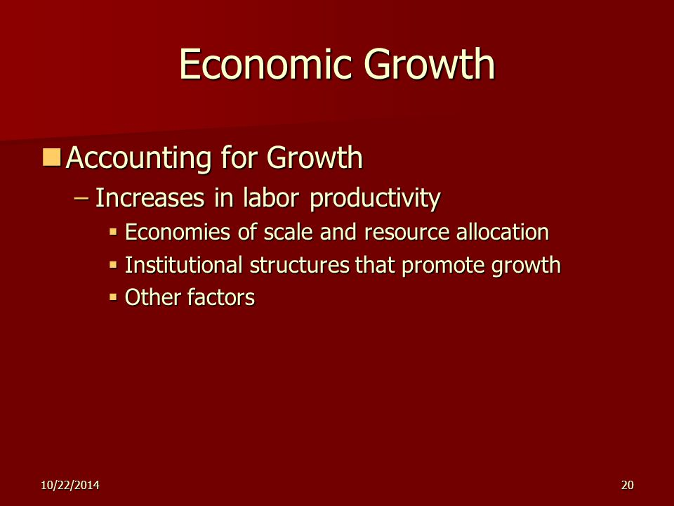 10/22/201420 Economic Growth Accounting for Growth Accounting for Growth –Increases in labor productivity  Economies of scale and resource allocation  Institutional structures that promote growth  Other factors