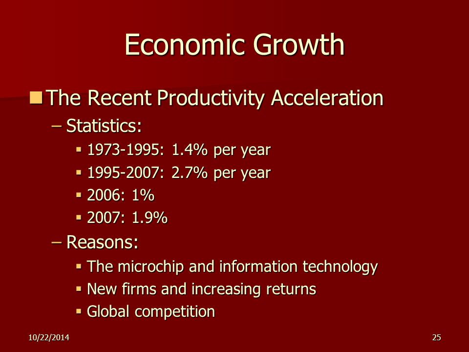 10/22/201425 Economic Growth The Recent Productivity Acceleration The Recent Productivity Acceleration –Statistics:  1973-1995: 1.4% per year  1995-2007: 2.7% per year  2006: 1%  2007: 1.9% –Reasons:  The microchip and information technology  New firms and increasing returns  Global competition