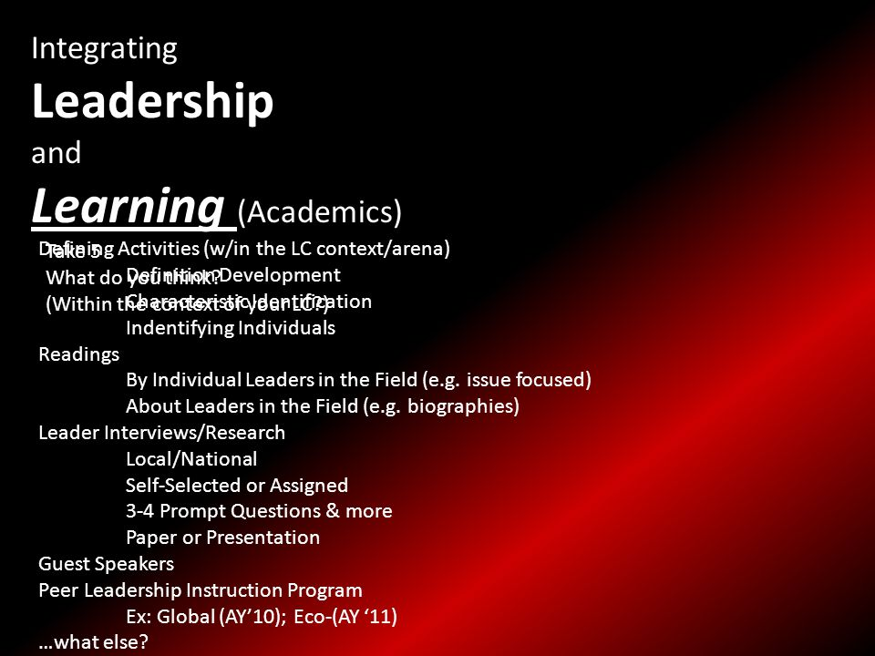 Integrating Leadership and Learning (Academics) Defining Activities (w/in the LC context/arena) Definition Development Characteristic Identification Indentifying Individuals Readings By Individual Leaders in the Field (e.g.