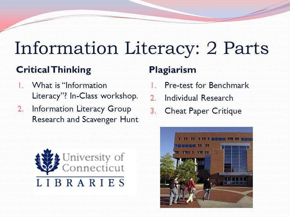 """Information Literacy: 2 Parts Critical Thinking Plagiarism 1. What is """"Information Literacy""""? In-Class workshop. 2. Information Literacy Group Researc"""