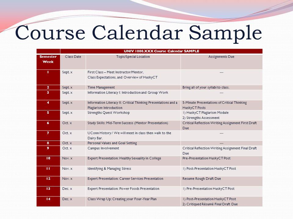 Course Calendar Sample UNIV 1800.XXX Course Calendar SAMPLE Semester Week Class DateTopic/Special LocationAssignments Due 1Sept. x First Class – Meet