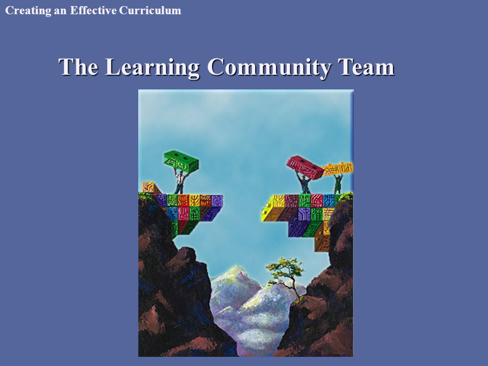 Creating an Effective Curriculum The Learning Community Team