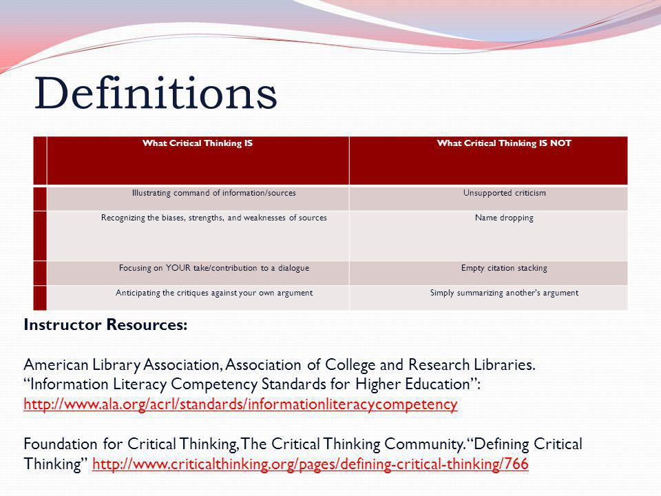 "Definitions Instructor Resources: American Library Association, Association of College and Research Libraries. ""Information Literacy Competency Standa"
