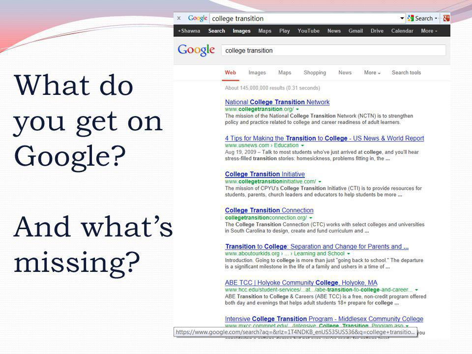 What do you get on Google? And what's missing?