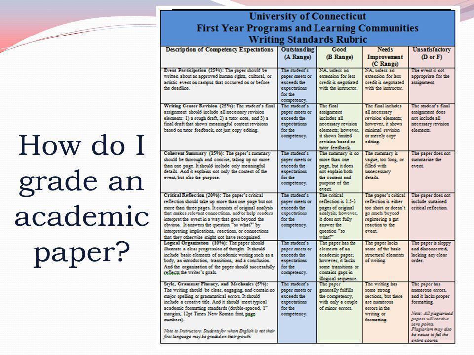 How do I grade an academic paper
