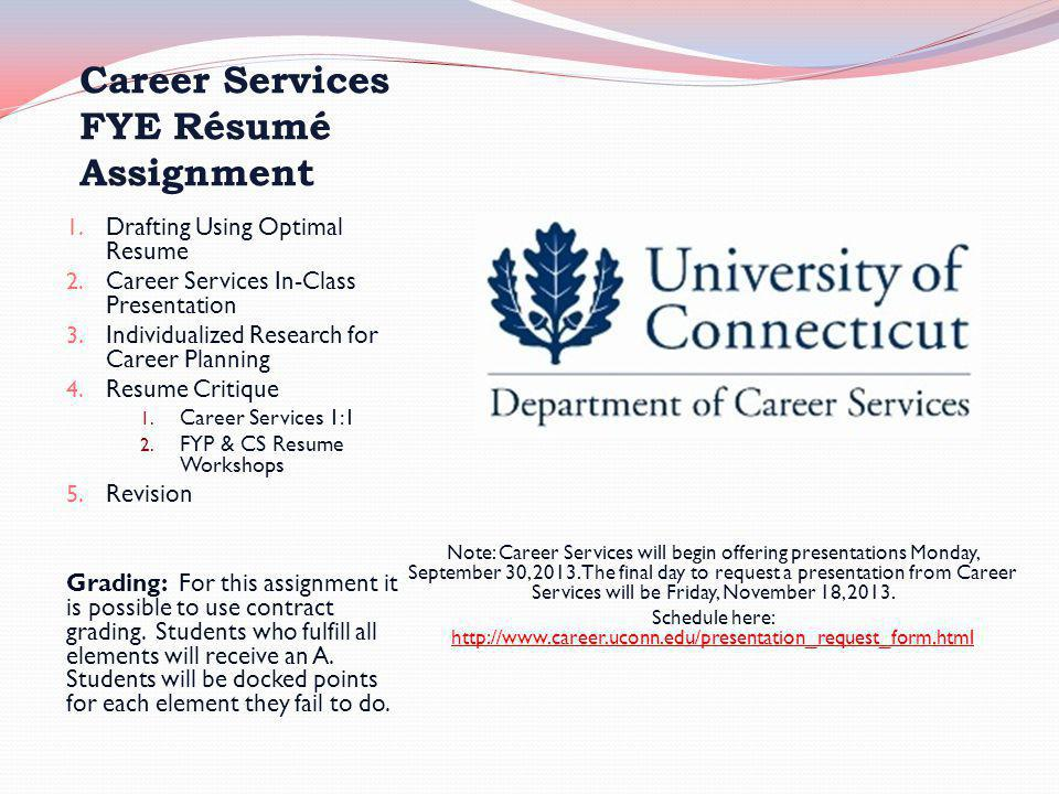 Career Services FYE Résumé Assignment 1. Drafting Using Optimal Resume 2. Career Services In-Class Presentation 3. Individualized Research for Career