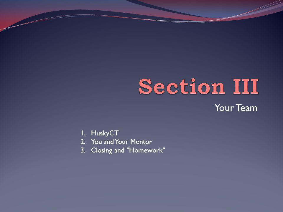 Your Team 1.HuskyCT 2.You and Your Mentor 3.Closing and Homework
