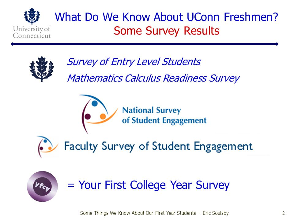 Some Things We Know About Our First-Year Students -- Eric Soulsby 33 Satisfaction with Coursework Your First College Year (YFCY) 2008