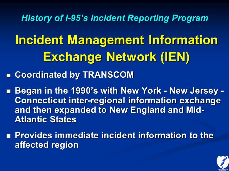 History of I-95's Incident Reporting Program Incident Management Information Exchange Network (IEN) Coordinated by TRANSCOM Coordinated by TRANSCOM Be