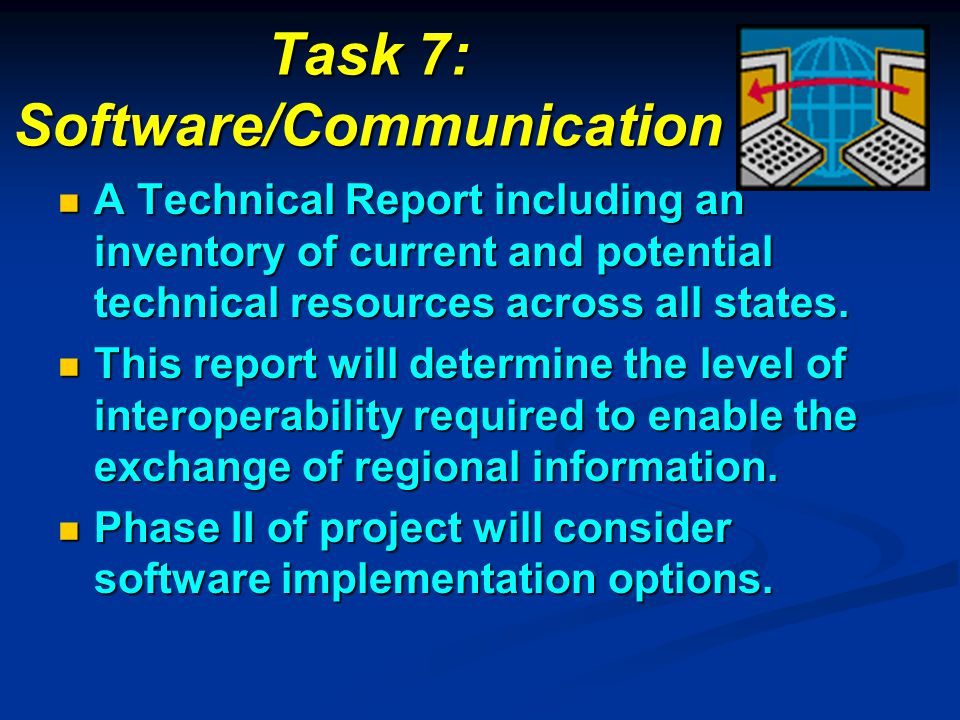 Task 7: Software/Communication A Technical Report including an inventory of current and potential technical resources across all states. A Technical R
