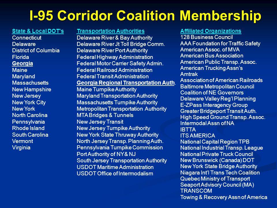 I-95 Corridor Coalition Membership Transportation Authorities Delaware River & Bay Authority Delaware River Jt Toll Bridge Comm. Delaware River Port A