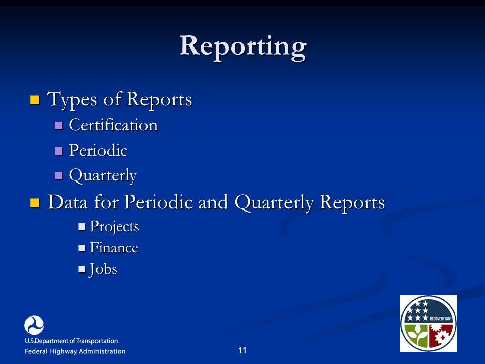 11 Reporting Types of Reports Types of Reports Certification Certification Periodic Periodic Quarterly Quarterly Data for Periodic and Quarterly Repor