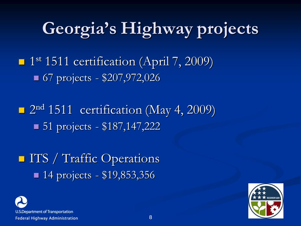 8 Georgia's Highway projects 1 st 1511 certification (April 7, 2009) 1 st 1511 certification (April 7, 2009) 67 projects - $207,972,026 67 projects - $207,972,026 2 nd 1511 certification (May 4, 2009) 2 nd 1511 certification (May 4, 2009) 51 projects - $187,147,222 51 projects - $187,147,222 ITS / Traffic Operations ITS / Traffic Operations 14 projects - $19,853,356 14 projects - $19,853,356