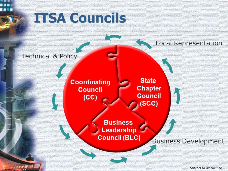 Subject to disclaimer. ITSA Councils Coordinating Council (CC) Business Leadership Council (BLC) State Chapter Council (SCC) Technical & Policy Local