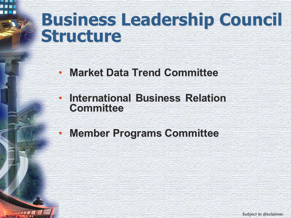 Subject to disclaimer. Business Leadership Council Structure Market Data Trend Committee International Business Relation Committee Member Programs Com