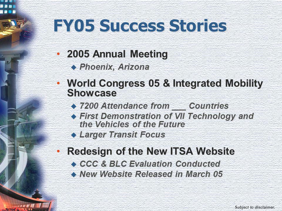 Subject to disclaimer. FY05 Success Stories 2005 Annual Meeting  Phoenix, Arizona World Congress 05 & Integrated Mobility Showcase  7200 Attendance