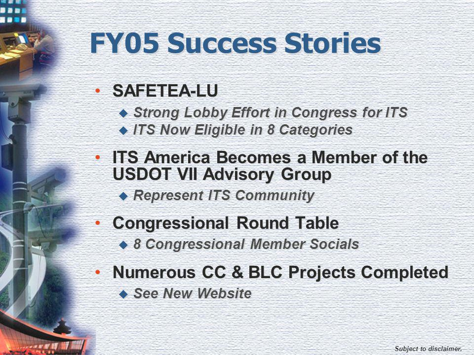 Subject to disclaimer. FY05 Success Stories SAFETEA-LU  Strong Lobby Effort in Congress for ITS  ITS Now Eligible in 8 Categories ITS America Become