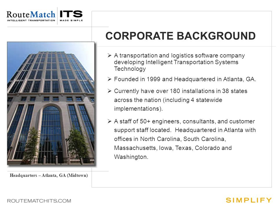 CORPORATE BACKGROUND  This is the first bullet point where content will go.