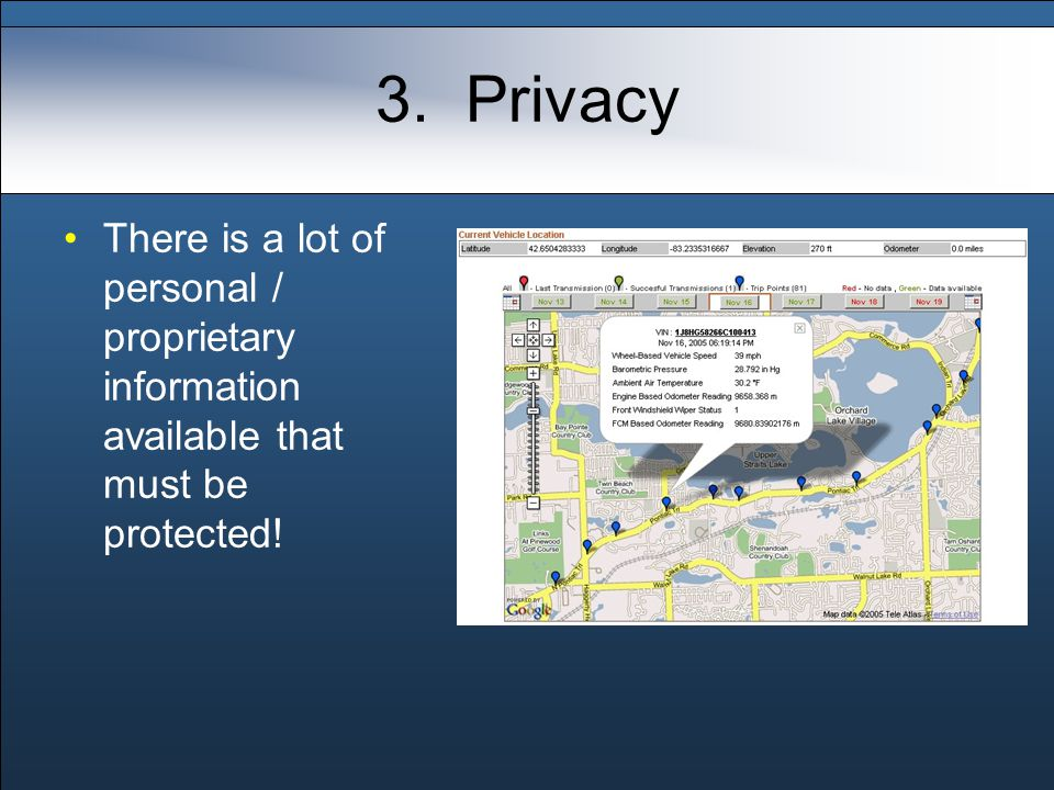 3. Privacy There is a lot of personal / proprietary information available that must be protected!