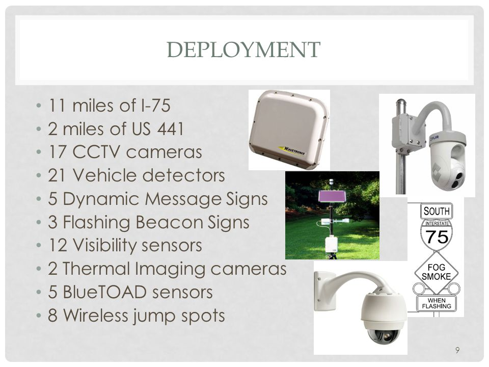 DEPLOYMENT 11 miles of I-75 2 miles of US 441 17 CCTV cameras 21 Vehicle detectors 5 Dynamic Message Signs 3 Flashing Beacon Signs 12 Visibility senso