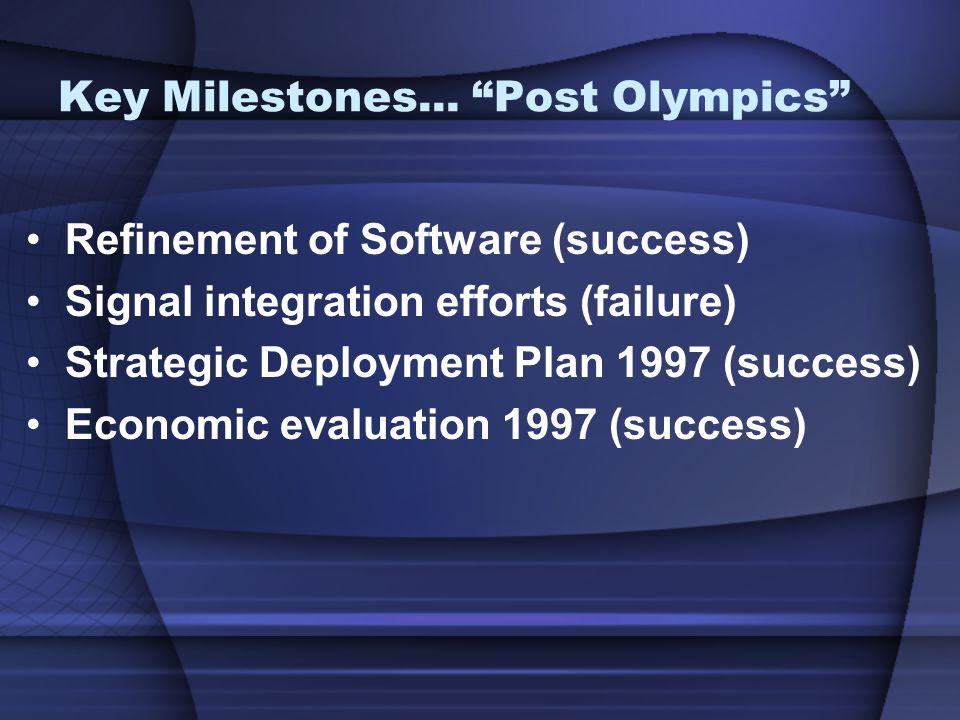 "Key Milestones... ""Post Olympics"" Refinement of Software (success) Signal integration efforts (failure) Strategic Deployment Plan 1997 (success) Econo"