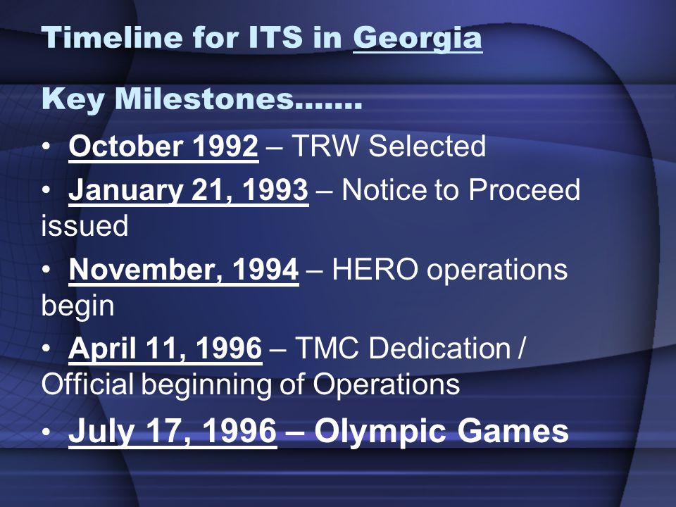 Timeline for ITS in Georgia Key Milestones.......