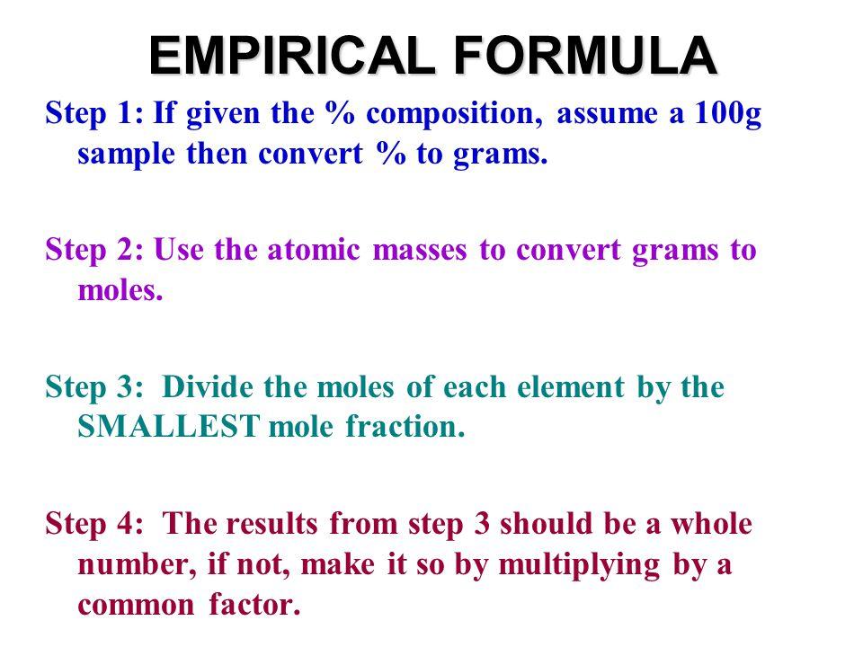 EMPIRICAL FORMULA 1.