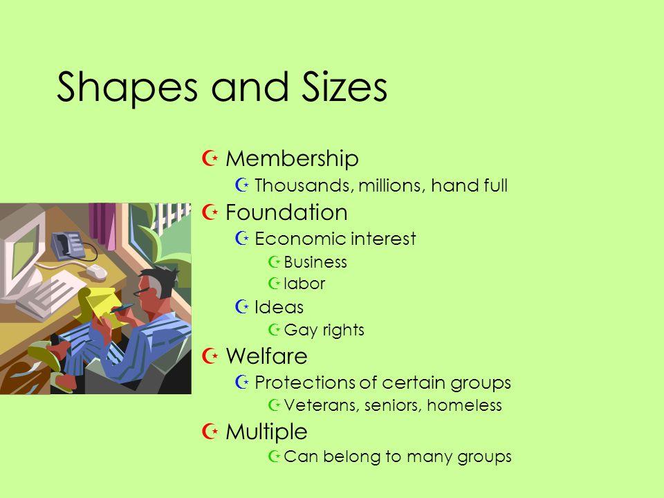 Shapes and Sizes ZMembership ZThousands, millions, hand full ZFoundation ZEconomic interest ZBusiness Zlabor ZIdeas ZGay rights ZWelfare ZProtections