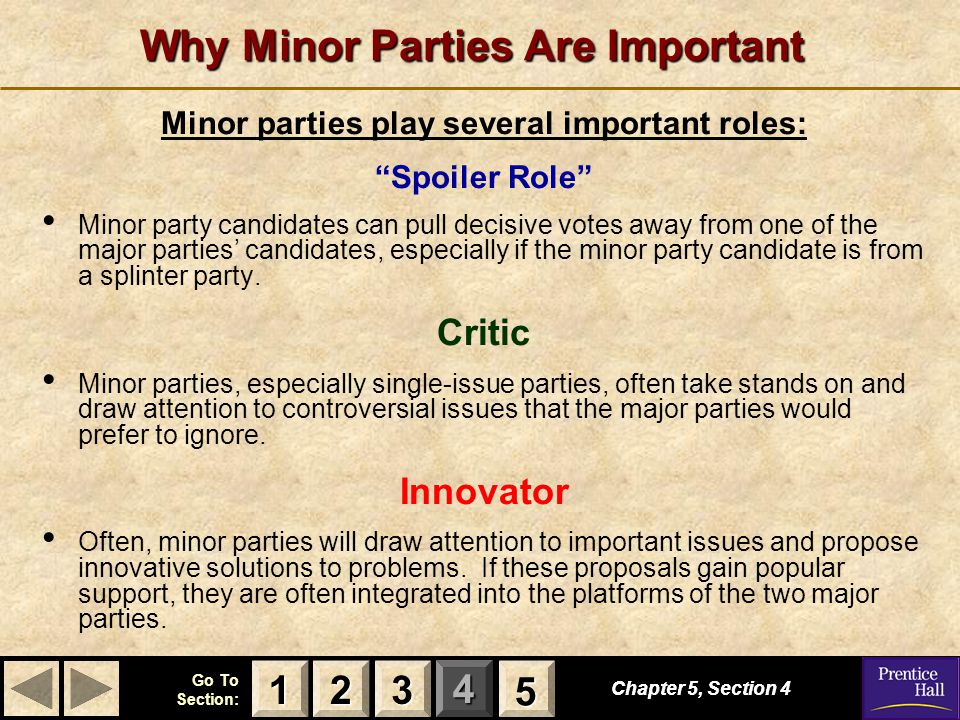 """123 Go To Section: 4 5 Why Minor Parties Are Important Minor parties play several important roles: """"Spoiler Role"""" Minor party candidates can pull deci"""