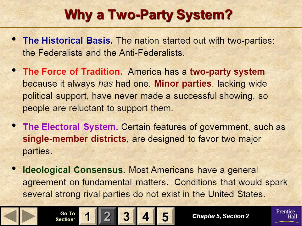 123 Go To Section: 4 5 Chapter 5, Section 2 3333 4444 1111 5555 Why a Two-Party System? The Historical Basis. The nation started out with two-parties: