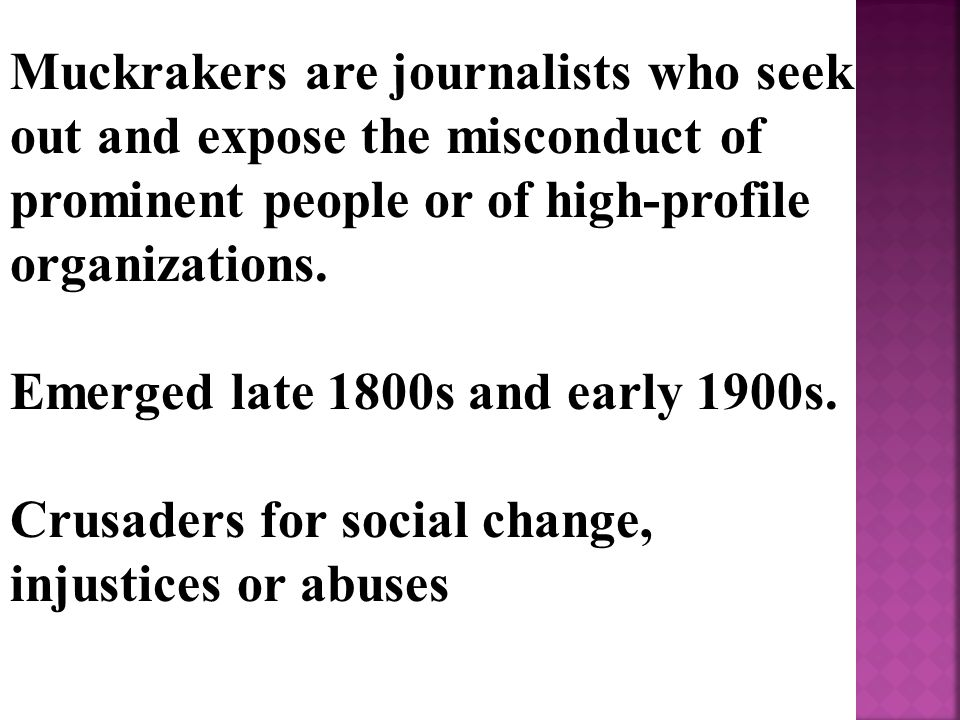 Muckrakers are journalists who seek out and expose the misconduct of prominent people or of high-profile organizations.
