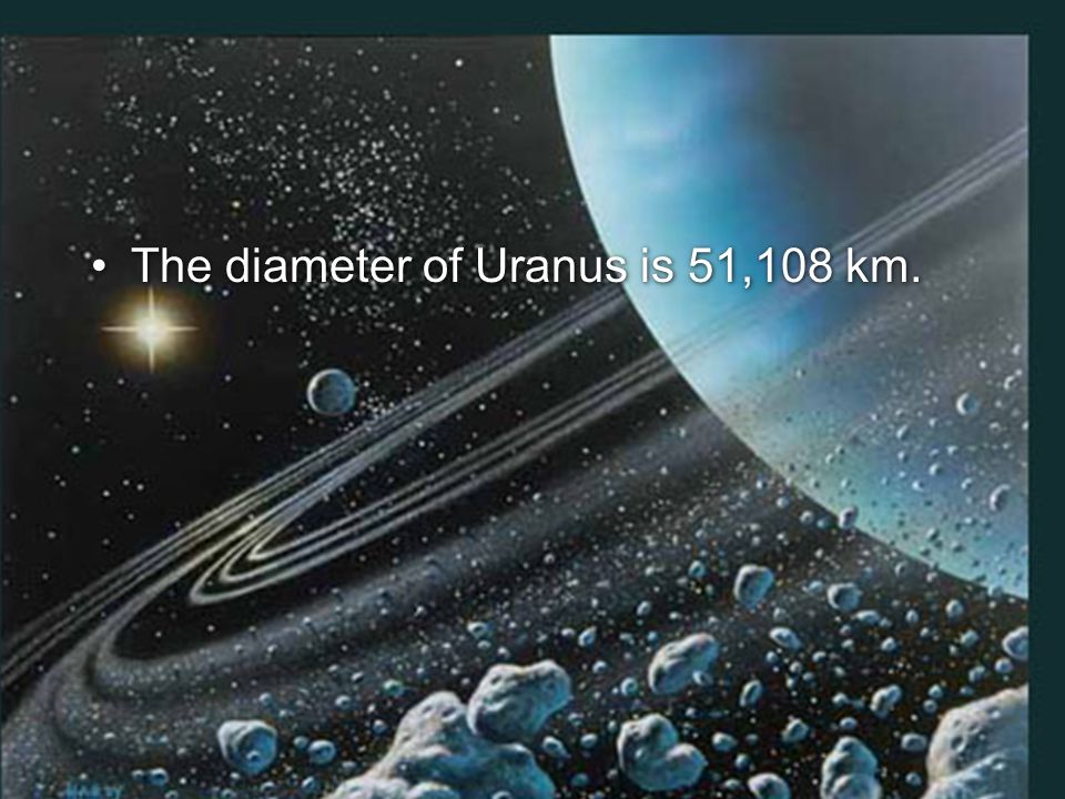 The diameter of Uranus is 51,108 km.