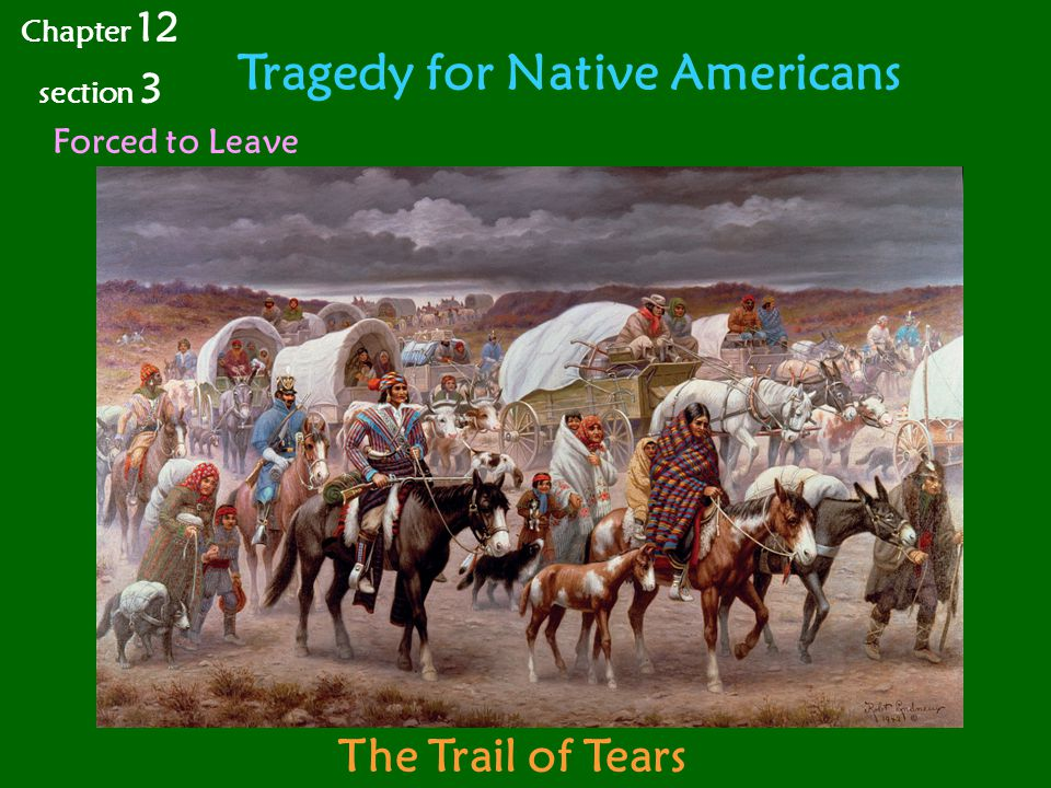 Tragedy for Native Americans Chapter 12 section 3 Forced to Leave The Trail of Tears