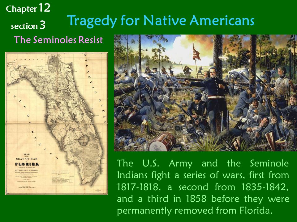 Tragedy for Native Americans Chapter 12 section 3 The Seminoles Resist The U.S.