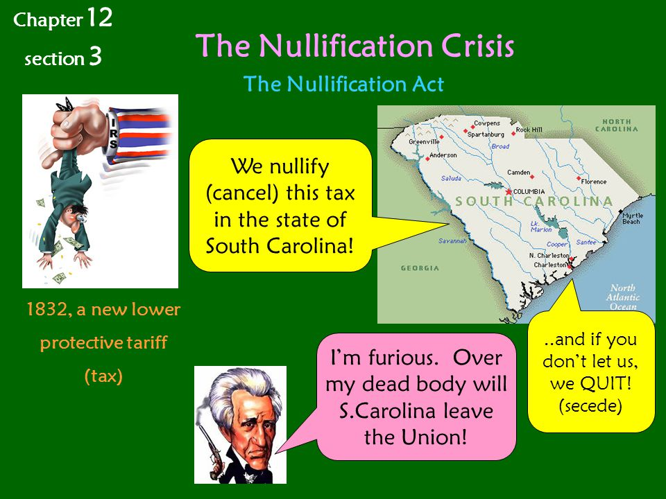 The Nullification Crisis Chapter 12 section 3 The Nullification Act 1832, a new lower protective tariff (tax) We nullify (cancel) this tax in the state of South Carolina!..and if you don't let us, we QUIT.