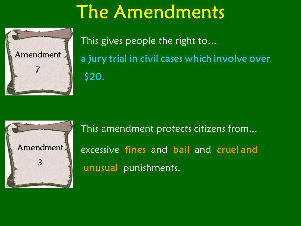 The Amendments Amendment 9 People have...rights not listed in the Constitution.