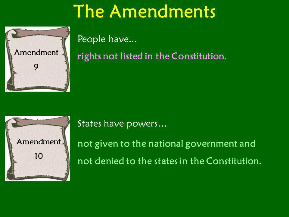 The Amendments Amendment 9 People have... rights not listed in the Constitution. Amendment 10 States have powers… not given to the national government