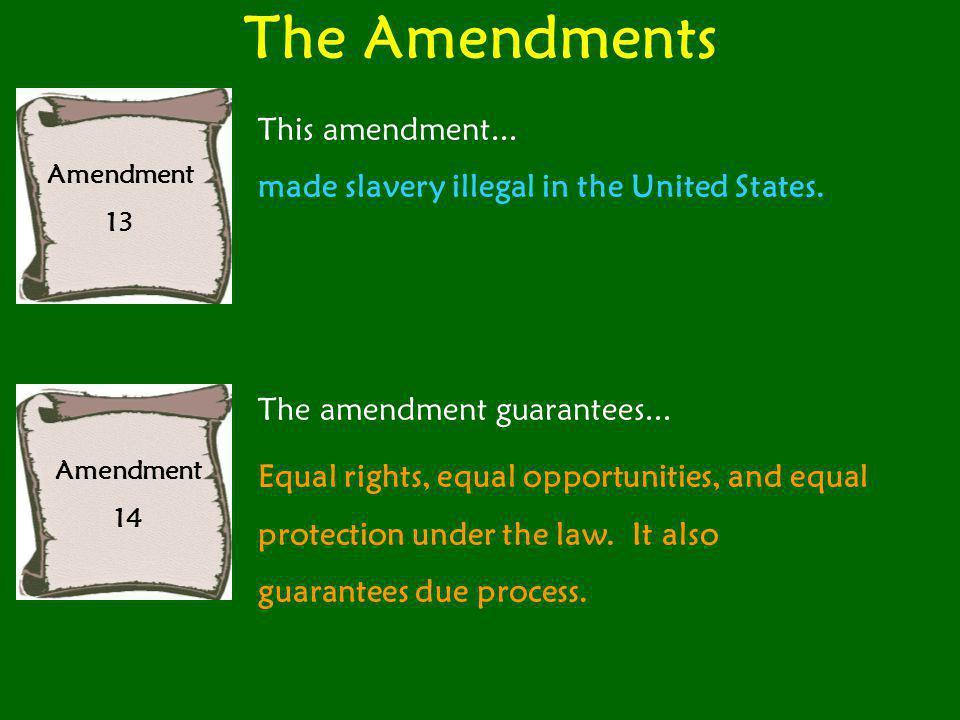 The Amendments Amendment 15 This amendment gave voting rights to...