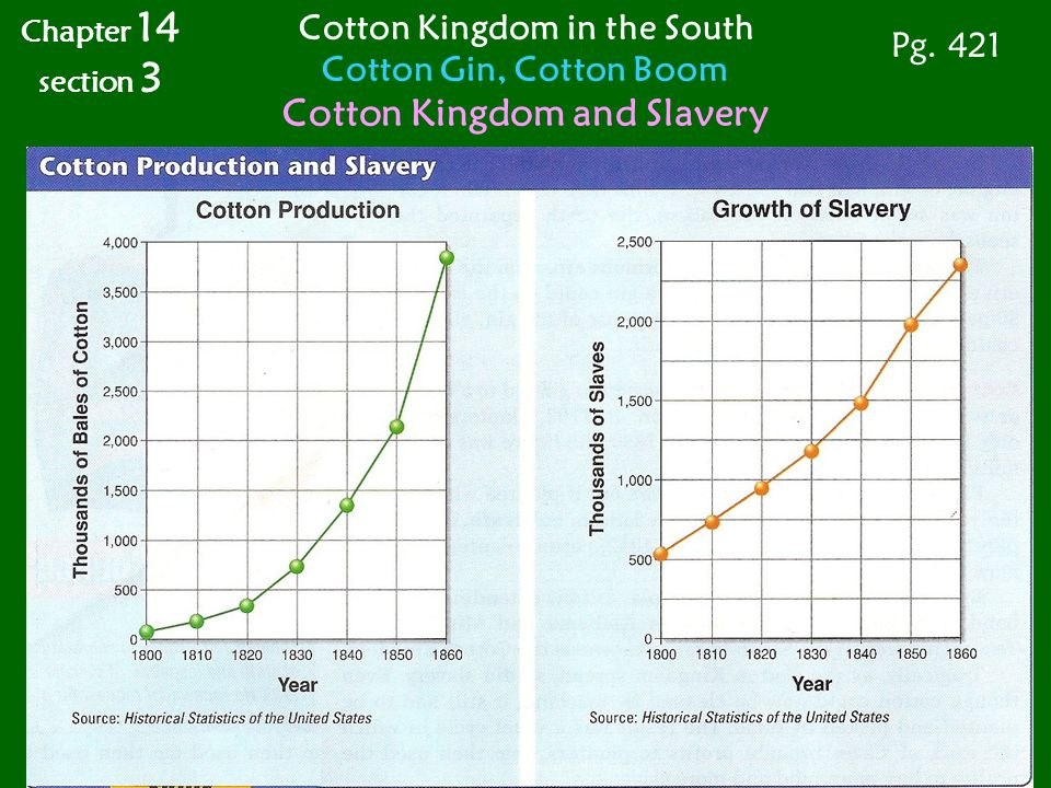Chapter 14 section 3 Cotton Kingdom in the South Cotton Gin, Cotton Boom Cotton Kingdom and Slavery Pg. 421