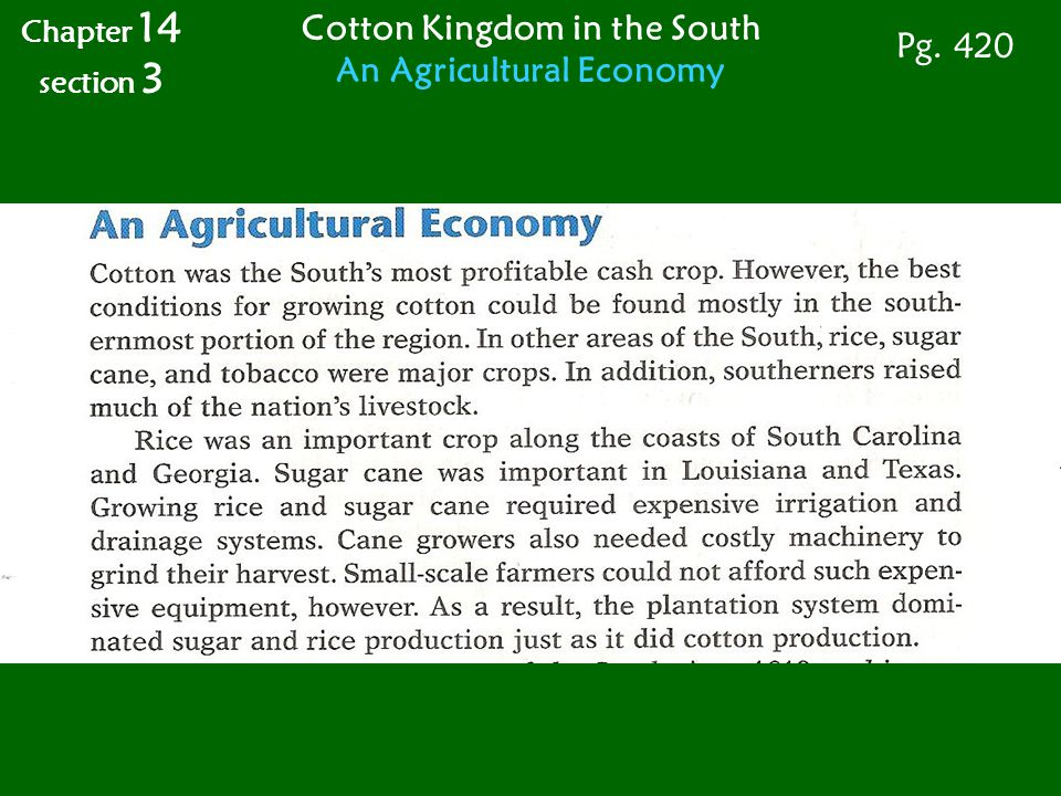 Chapter 14 section 3 Cotton Kingdom in the South An Agricultural Economy Pg. 420