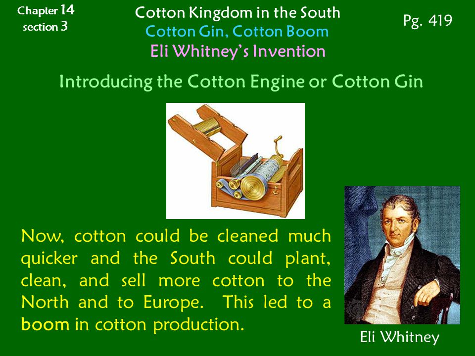 Introducing the Cotton Engine or Cotton Gin Eli Whitney Now, cotton could be cleaned much quicker and the South could plant, clean, and sell more cott
