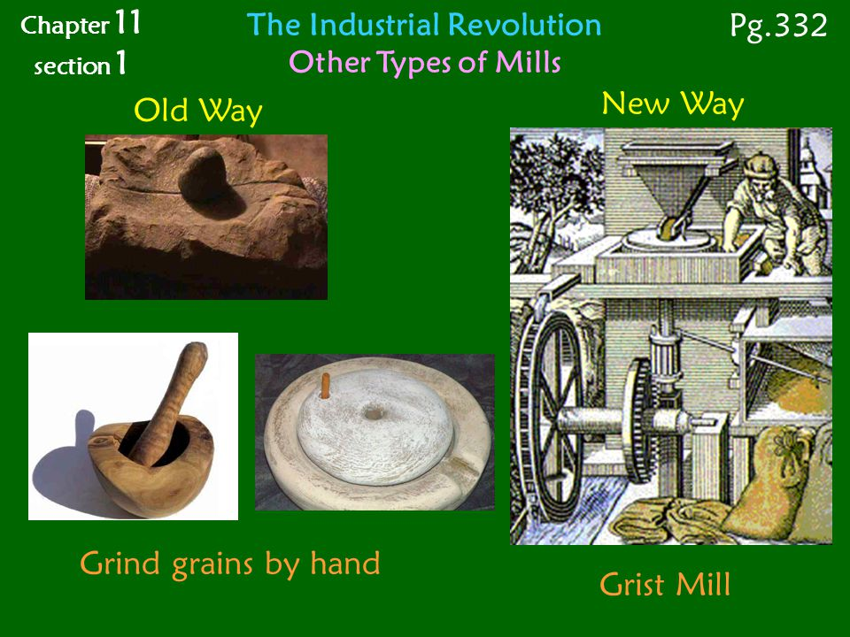 New Way Chapter 11 section 1 Pg.332 The Industrial Revolution Other Types of Mills Old Way Grist Mill Grind grains by hand