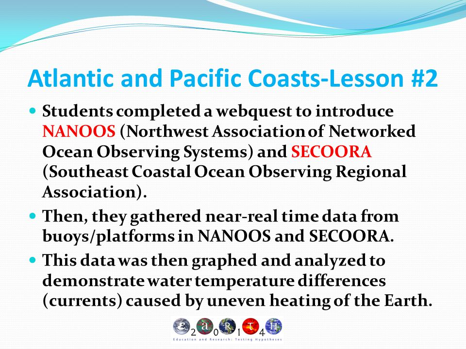 Atlantic and Pacific Coasts-Lesson #2 Students completed a webquest to introduce NANOOS (Northwest Association of Networked Ocean Observing Systems) a