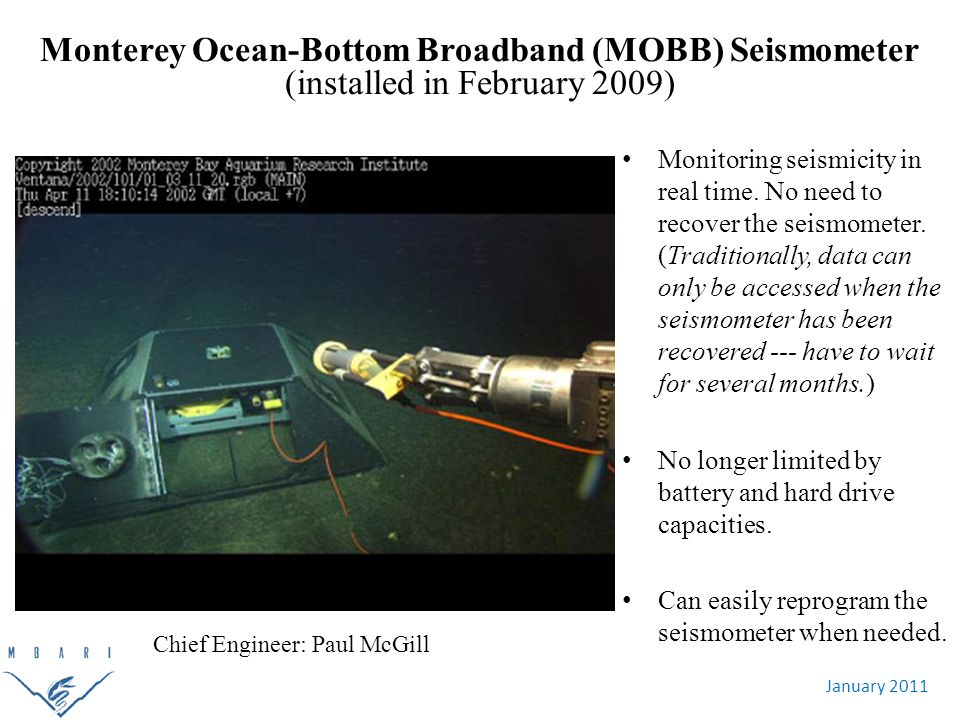 January 2011 Monterey Ocean-Bottom Broadband (MOBB) Seismometer (installed in February 2009) Monitoring seismicity in real time.