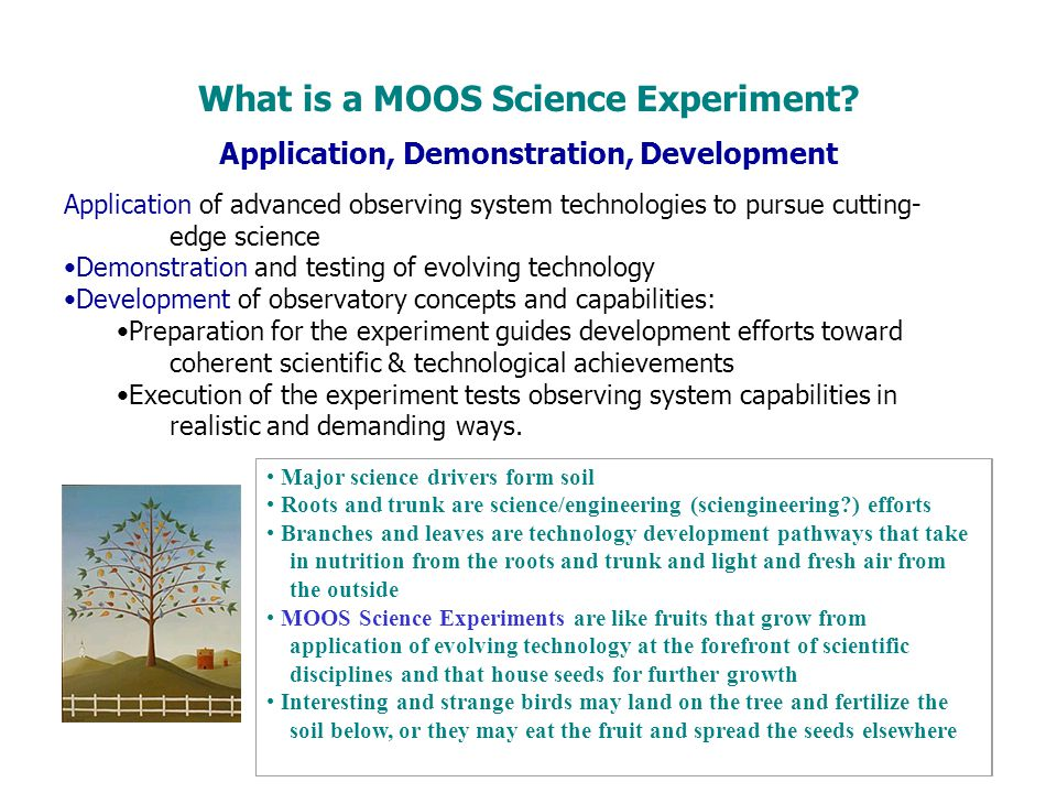 Application, Demonstration, Development Application of advanced observing system technologies to pursue cutting- edge science Demonstration and testin