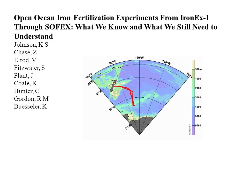 Open Ocean Iron Fertilization Experiments From IronEx-I Through SOFEX: What We Know and What We Still Need to Understand Johnson, K S Chase, Z Elrod, V Fitzwater, S Plant, J Coale, K Hunter, C Gordon, R M Buesseler, K