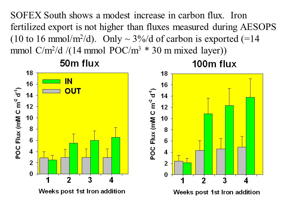 SOFEX South shows a modest increase in carbon flux.